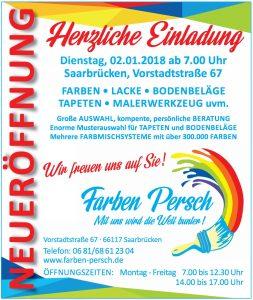 Farben Persch Neueröffnung am 2.1.2018